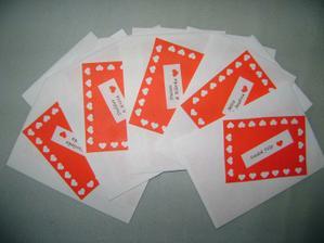 Obálky na oznámení, moje práce...než jsem si uvědomila, že jsem je zapomněla vyfotit, tak už byla většina rozdána :-)