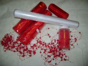 Organzy, písek pod prstýnky, perličky na silikonu