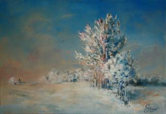 """""""Dobšinského zima"""", akryl na plátne, rozmer 7050cm"""