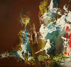 """""""vtáča I"""", akryl na plátne, rozmer 50x50 cm"""