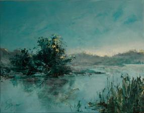 """""""čakanie na ráno"""", akryl na plátne, rozmer 60x50cm"""