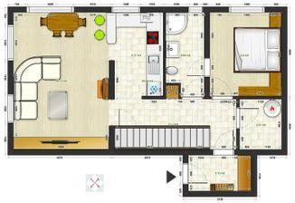 Návrh prízemia. Vonkajšie rozmery domu sú  11,75 x 6,25 m (bez izolácie a zádveria). Obvodové steny a vnútorné nosné Ytong 25cm.