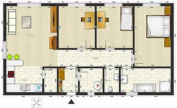 A takto by som riešil bungalov. Vonkajšie rozmery bez izolácie 14,15 x 7,70 m.