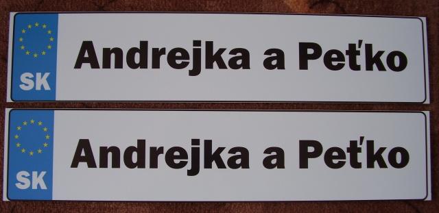 Andrejka a Peťko - Naše svadobné ŠPZ-ky