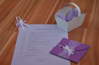 Vývazek, program svatebního dne, košíček na koláčky a svatební oznámení. Vše vlastní výroba až na košíček na koláčky :-)