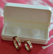 Naše prstýnky - kombinace bílého a červeného zlata :-)
