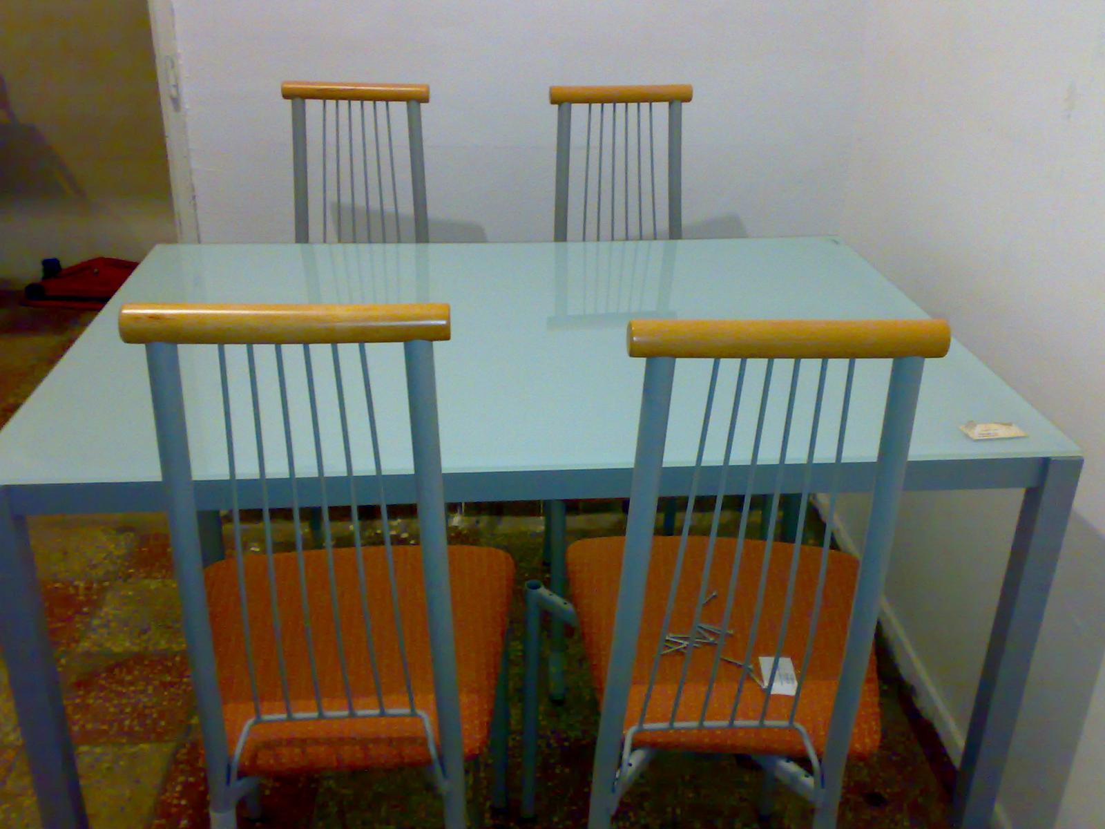 4ks/80eur-Stolička kov+drevo - Obrázok č. 1