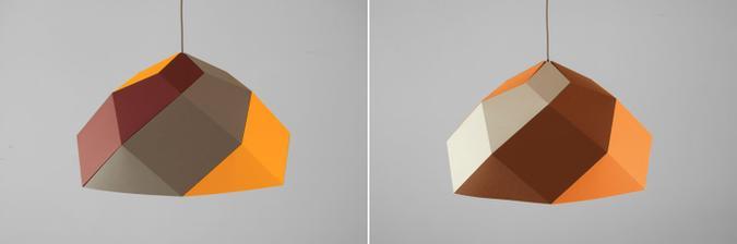 Lampa HEXAS - v zlto, bielo, sedej farebnosti.