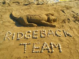 doma máme naši milovanou ridgebacku a jelikož nemohla jet s námi, bylo nám fakt smutno, tak jsme si ji postavili z písku:) Byla to docela šereda, ale fotila si ji celá pláž:)
