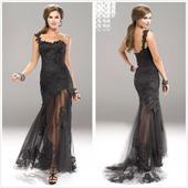 Luxusné čierne šaty s vlečkou, 44