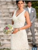 Překrásné elastické krátké svatební šaty vel.42-46, 44