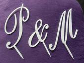 """Písmena """" P & M """" na dort - zápich,"""