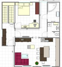 Verzia 4 - presun balkonovych dveri a presun dveri do obyvacky a izby