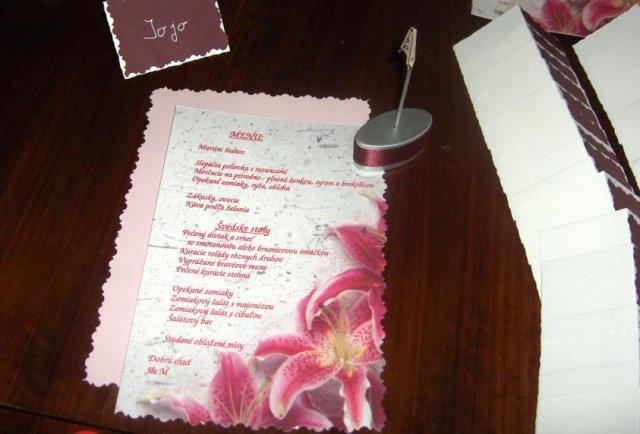 Detaily z nasej svadby - Navrh nasho menu