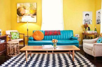 takto nejako ale inverzne - sedačka žltá, a stena tyrkysová :-)