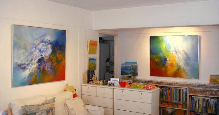 Spálňa bude - hnedá, biela, a trochu lososovej - a nejaky mozno takyto obraz dame do spalne...