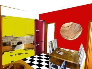 koláž - akoby to farebne mohlo vyzerat :-) zlta kuchyna, k nej hneda prac. doska, stol a stolicky kombinacia biela s drevom.... stena mozno cervena, mozno len jemne zlta..... alebo ostane biela.... no a to hnede na stene chcem spravit nieco kreativne