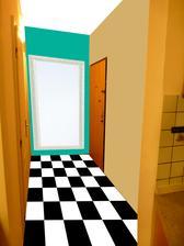 koláž úpravy - šachovnicová ČB dlažba (bude položená do šikma nie takto ako na obr.), tyrkysová stena s veľkým zrkadlom 100x130cm v bielom ráme, ktoré priestor veľmi zväčší, vedľajšie steny krémové, botník by bol pri béžovej stene bielej farby....