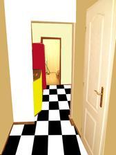 z chodby rovno do kuchyne.... vľavo v tom rohu bude menší botník a vešiakova stena.
