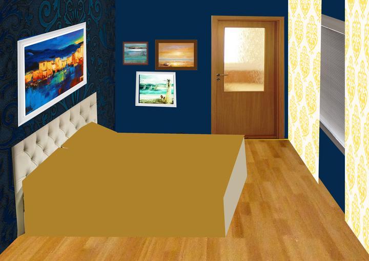 Spálňa bude - hnedá, biela, a trochu lososovej - PRVOTNY NAPAD - TOTO NEBUDE! Koláž úpravy - ...alebo 2.stenu natrieme len na indigovu farbu?
