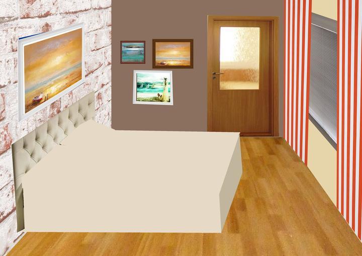 Spálňa bude - hnedá, biela, a trochu lososovej - DALSI NAPAD - TOTO NEBUDE! Koláž - tehlová tapeta?  spálňa bude na inom mieste než sme pôvodne plánovali a podľa feng-shuej by tam mali byť iné farby, preto uvažujeme nad ďalšími alternatívami....