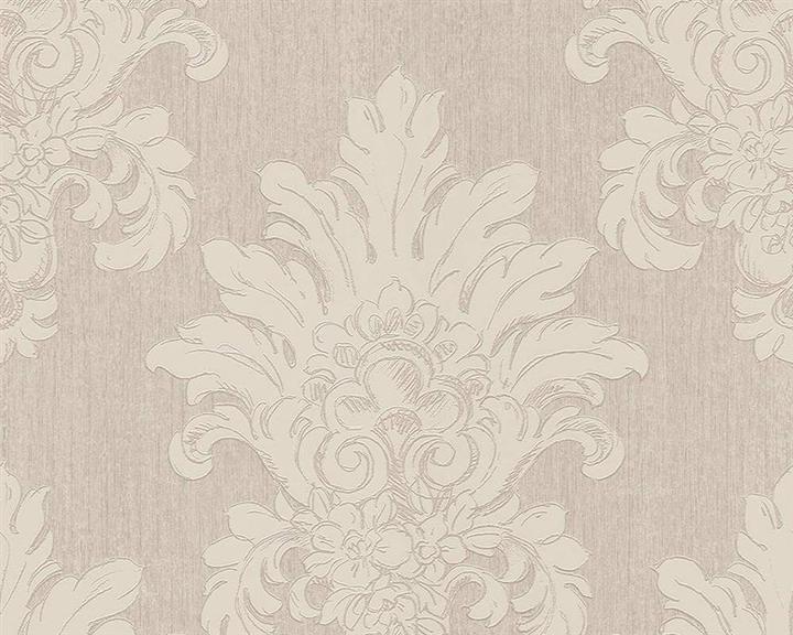 Spálňa bude - hnedá, biela, a trochu lososovej - detail ornamentovej tapety.