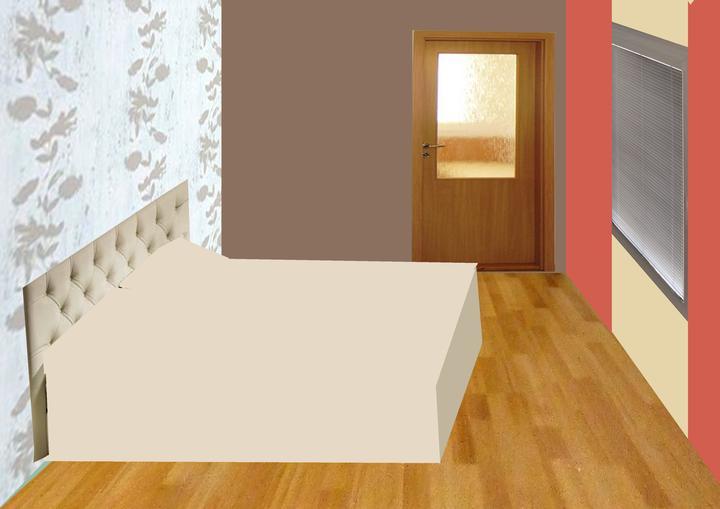 Spálňa bude - hnedá, biela, a trochu lososovej - tak takto nejako to bude vyzerat, uz finalna verzia, iba ta farba steny pri okne je tmava ako pri dverach......