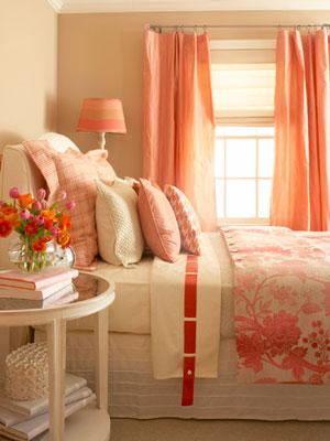 Spálňa bude - hnedá, biela, a trochu lososovej - taketo nejake zavesy by som tam chcela dat plus prehoz na postel v takej farbe.....