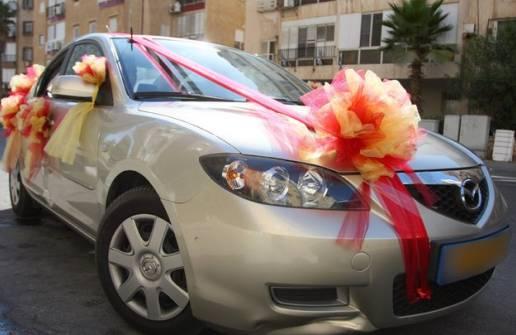 Vanilkovo-cokoladova svadba - takuto vyzdobu na auto ale v kremovo-bielej kombinacii spravi firma www.vyzdoby.sk, cena: 500 sk (uz je zapocitane v tom rozpocte hore)