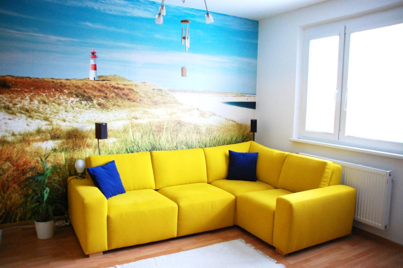 Obývačka bude - lážo plážo relax :-) - Tak konecne lepsie foto :-)... ten luster hore si nevsimat, aj ten pojde prec :-P.... Rozmery sedacky: 2,5x1,7m,  sedacka Eden, www.nesia.sk