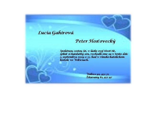 Náš deň 5.september 2009 - Svadobné oznámenie ,ktoré pošleme možno niektorým známym mailom