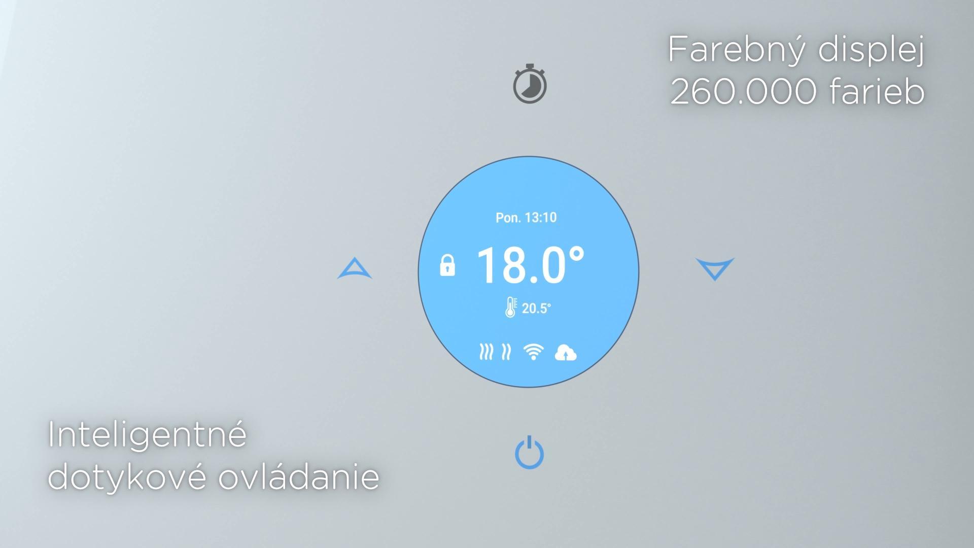 TowelBoy - Inteligentný sklenený vykurovací radiátor - Na farebnom displeji s dotykovým ovládaním jednoducho nastavíte požadovanú teplotu v miestnosti