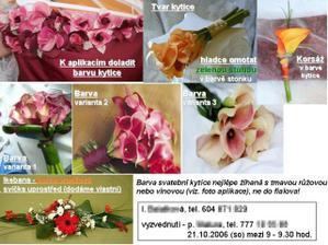 Tak už mám objednanou kytí... Tyto instrukce dostala květinářka: