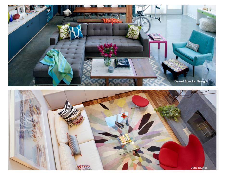 Obývák pro knihomoly - barevné interiéry