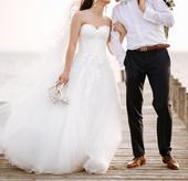 Svadobné šaty za cenu požičovného 1x oblečené, 38