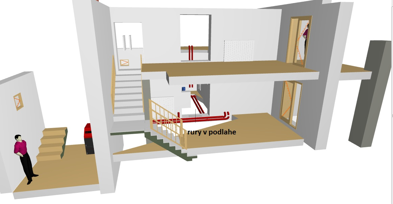 potrebujem radu . mozem mat  navrhnute rozvody kurenia tak ako  su na obr. ?kotlna by mala byt na boku  budovy a odtial  by mali ist rozvody do domu. (jedna sa o pristavbu a rekonstrukciu domu) - Obrázok č. 1