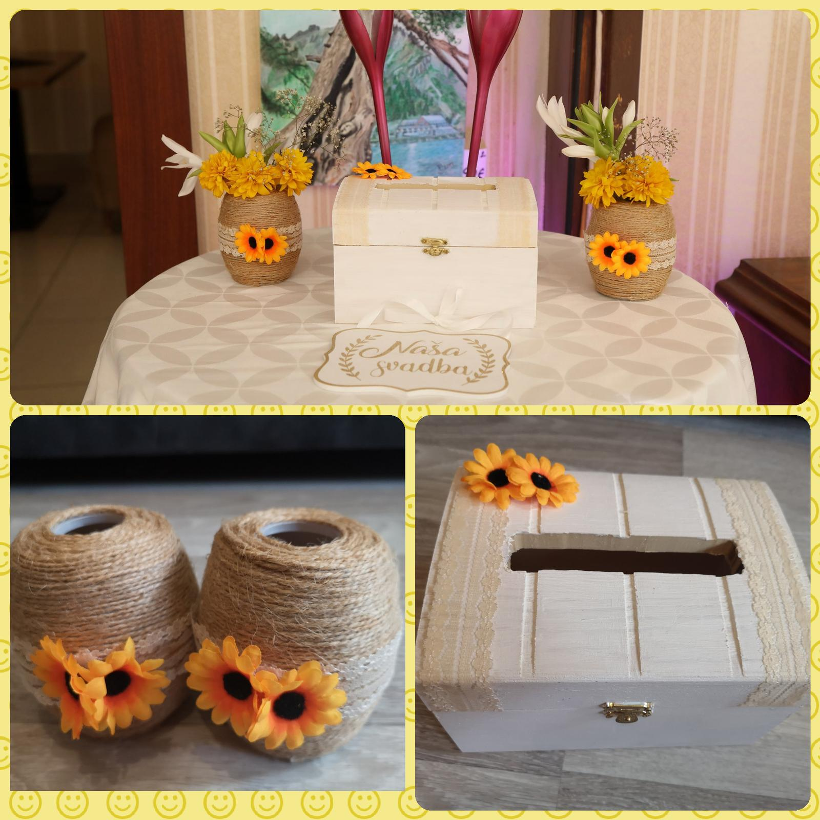Handmade krabička a vazicky so slnecnicami - Obrázok č. 1