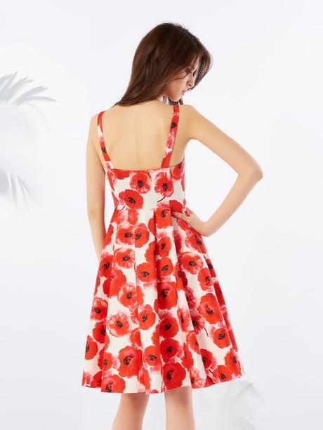 Biele šaty s červenými vlčími makmi zn. Mohito - Obrázok č. 3
