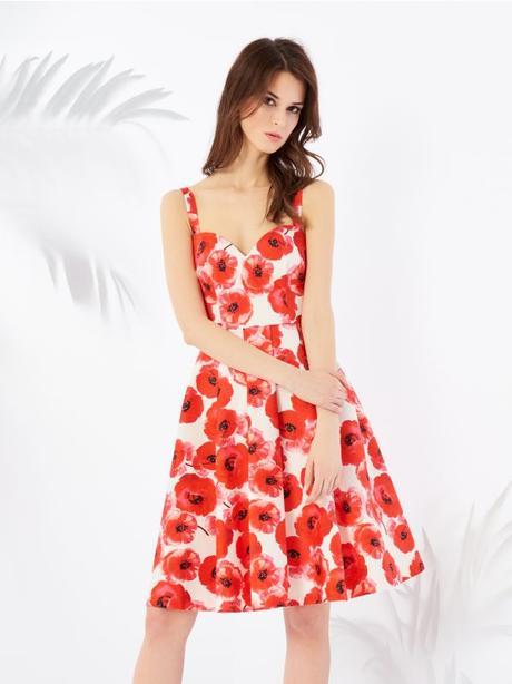 Biele šaty s červenými vlčími makmi zn. Mohito - Obrázok č. 2