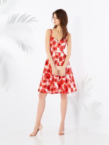 Biele šaty s červenými vlčími makmi zn. Mohito - Obrázok č. 1