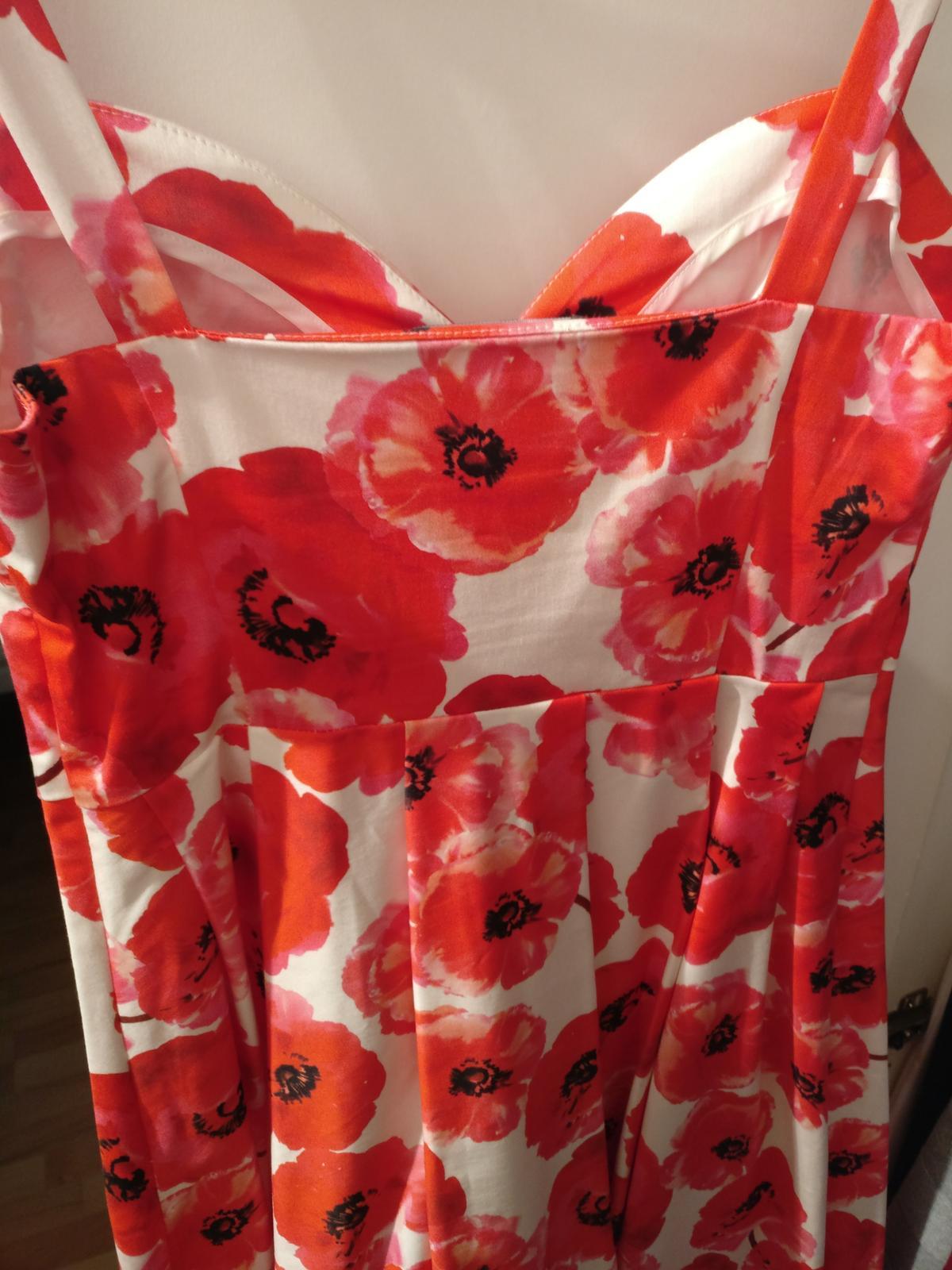 Biele šaty s červenými vlčími makmi zn. Mohito - Obrázok č. 4