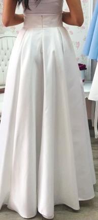 Biela dlhá popolnočná saténová sukňa - Obrázok č. 1
