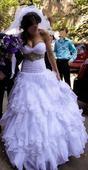 sexy svatební šaty s vlečkou S-M, 38