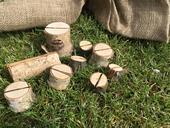 Dřevěné špalíčky na cedulky označující jídlo,