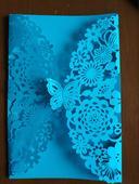 Krajková obálka na svatební oznámení - modrá,