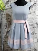 BICOTONE spoločenské šaty sivé, 34
