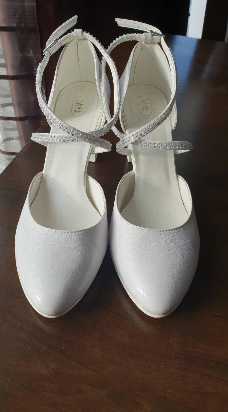 Biele svadobné kožené lodičky veľ. 41 - Obrázok č. 1