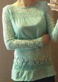 Mint krajkované tričko s dlouhým rukávem, 36