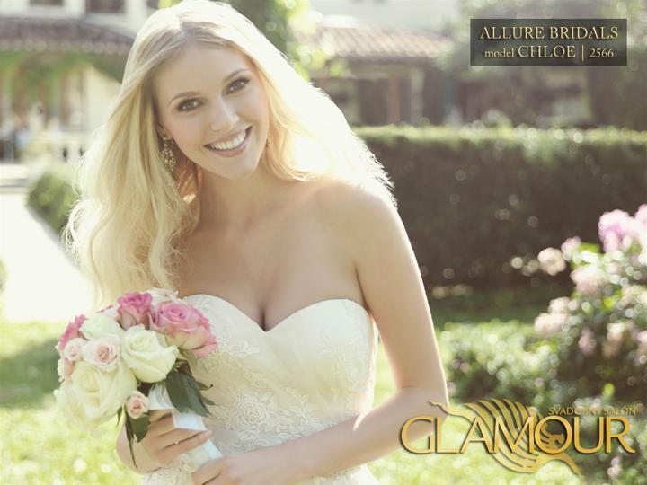 Nová kolekcia 2013 v salón Glamour - Allure Bridals model Chloe   2566 /farba: biela, veľkosť: 32/34/36/