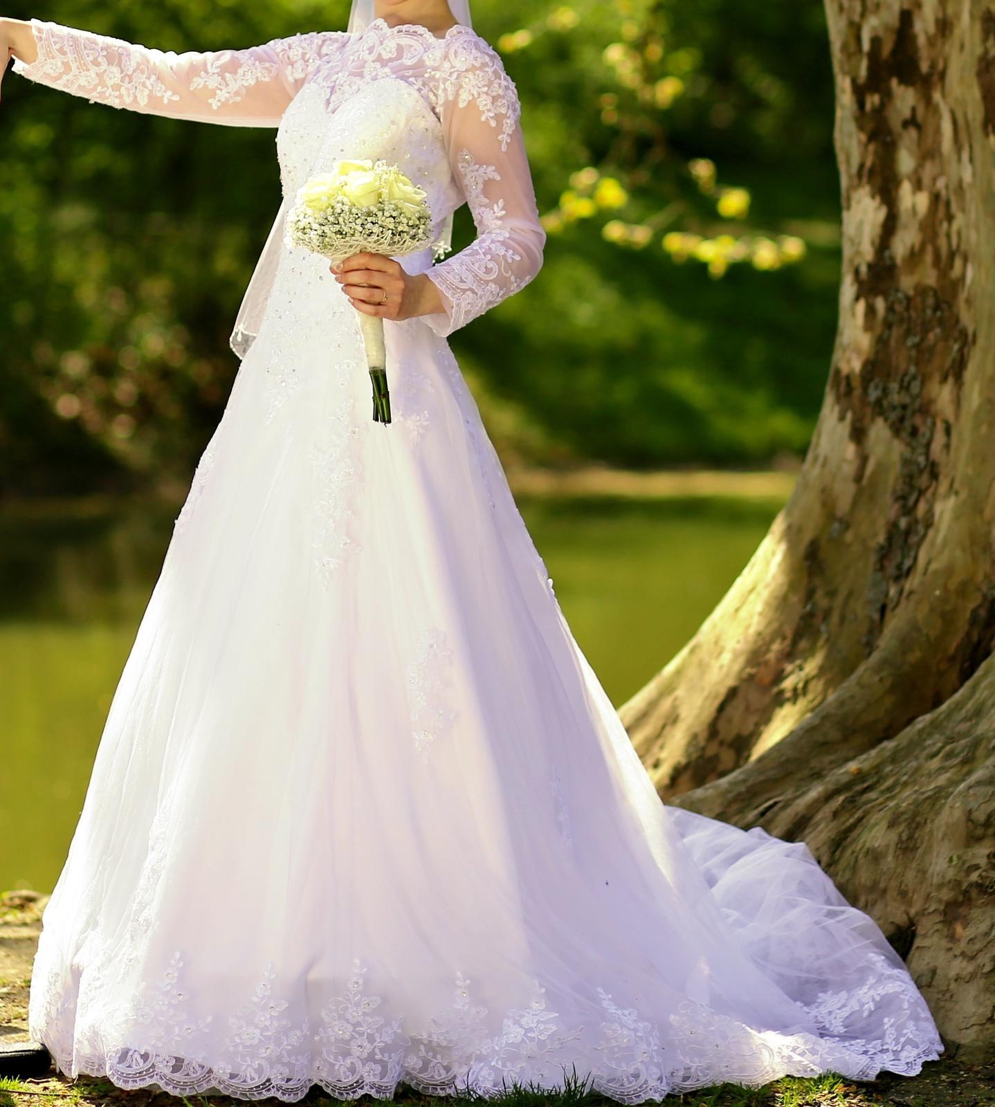 Svadobné šaty dlhý rukáv, krajka - Obrázok č. 2